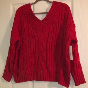 Red Dress Cableknit Sweater
